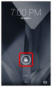 The lock screen appears. 2. Slide the lock icon in any direction to unlock the screen. The screen is unlocked.