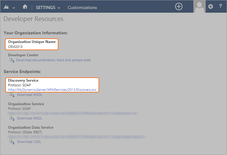 Example: In Microsoft Dynamics CRM 2103 On-Premises, the Developers Resources page looks like the following: 2.