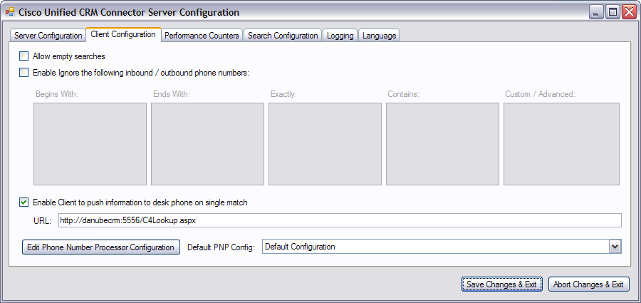 Configuring the IP Phone Service and XML Display Service What to Do Next Figure 36 Server Configuration Window Client Configuration Tab: Cisco Unified CallConnector for Microsoft Dynamics CRM Step 9