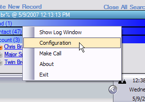 Using the Client Figure 54 Create a New Record Menu: The client maintains an icon in the tray. The two possible icons are: Client successfully contacted and logged in.