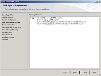 Disk Space Requirements Choose: next> Server Configuration SQL Server Agent