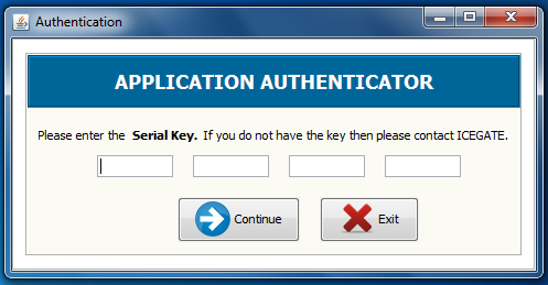 1.3 Applicatin authenticatin page. After accepting terms and cnditins, user needs t enter a security key prvided t him.