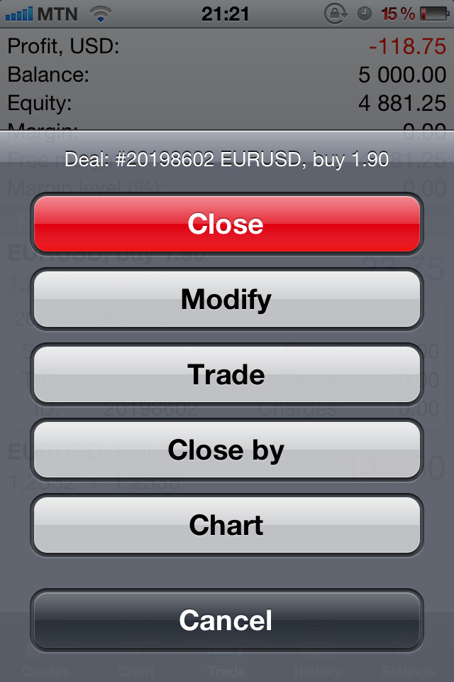 ORDER AND TRADE MANAGEMENT To view and/or modify existing positions in the market or pending orders, press the Trade tab located in the middle of the menu at the bottom of the screen.