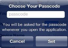 Select Set Note: Once Set is selected, the PayFox application requires the Passcode upon