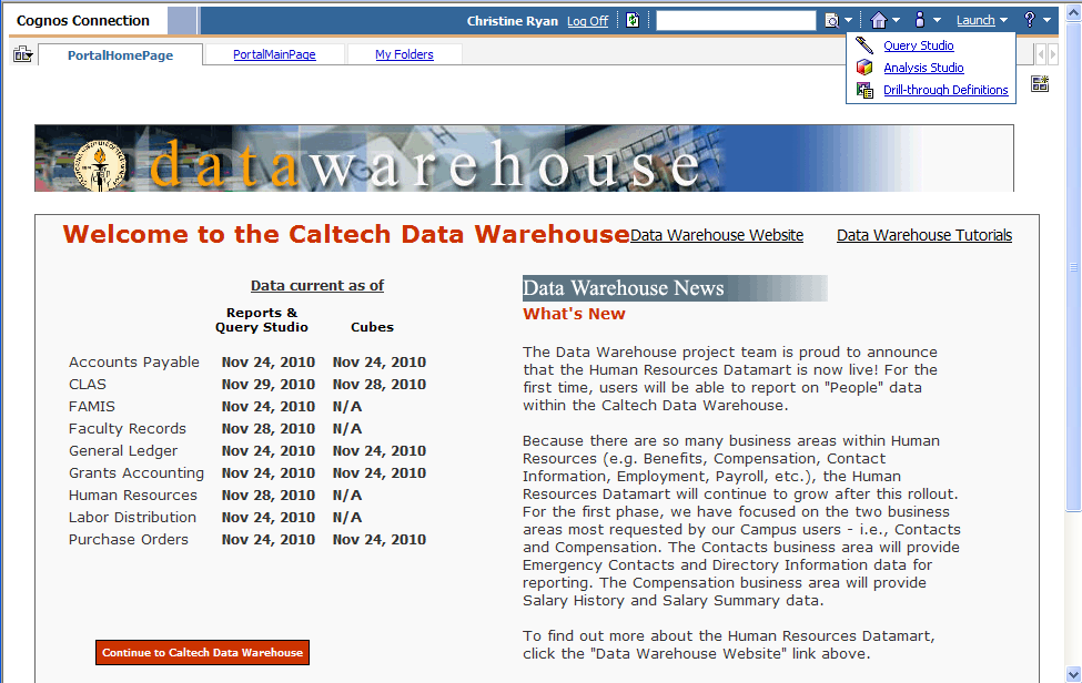 Accessing Query Studio 1. Navigate to the IMSS Support page at the following URL: http://imss.caltech.edu/ and click on the Caltech Data Warehouse link. 1 2 2.