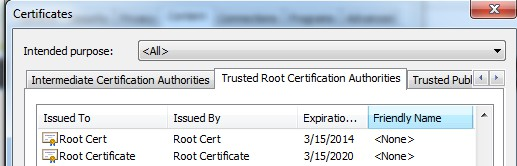 In order to validate the certificates on other computers, the Root Certificate used to issue Client Certificates (like SSL certificates), must be installed on that computers first.
