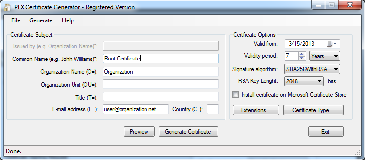 Creating a Root Certificate Saving the Root Certificate Public Part The certificates signed by the Root Certificate, could be considered invalid on some computers.
