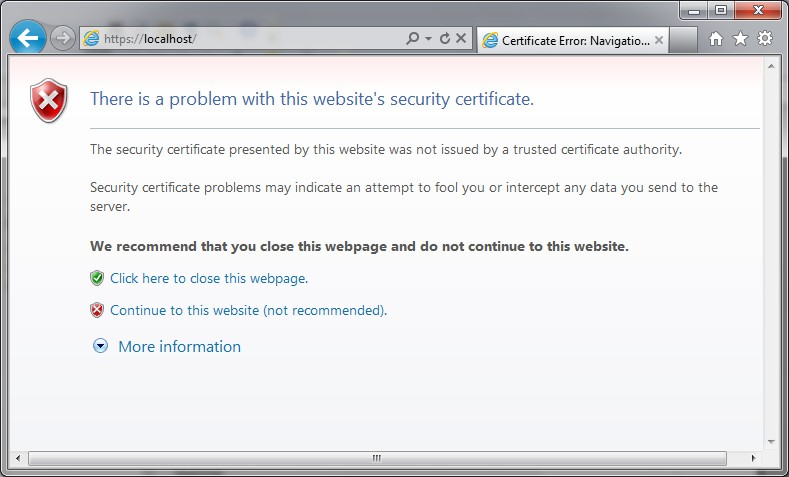 cer) and click OK. Right now, the certificate is installed. To test the SSL website, go to https://loclahost.