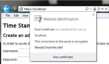 Validating the SSL certificate If the SSL certificate is considered untrusted by your web browser, you must install the Root Certificate pubic part used to digitally sign the CSR on Microsoft