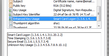 Enhanced Key Usage This extension indicates how a certificate s public key can be used.