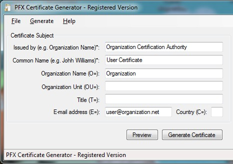 Also, the application can issue digital certificates signed by a Root Certificate loaded from a PFX file or self-signed
