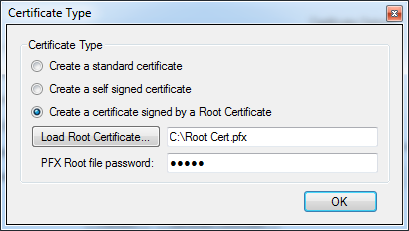 Issuing Certificates By default, the certificates issued by PFX Certificate Generator are signed by a Root Certificate created