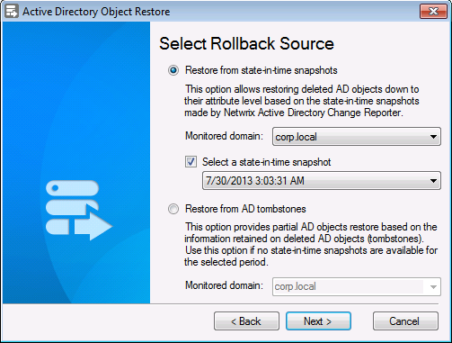 3. On the Select Rllback Surce step, yu must select a dmain and the Rllback Surce: Figure 11: Active Directry Object Restre Wizard: Select Rllback Surce 4.