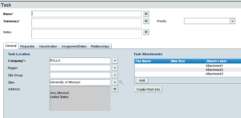 7.0 Other Tasks Remedy ITSM User Guide 3. Under the Request Type field, select Ad hoc from the list. 4. Click on Relate. 5. Enter the name of the task in the Name field. 6.