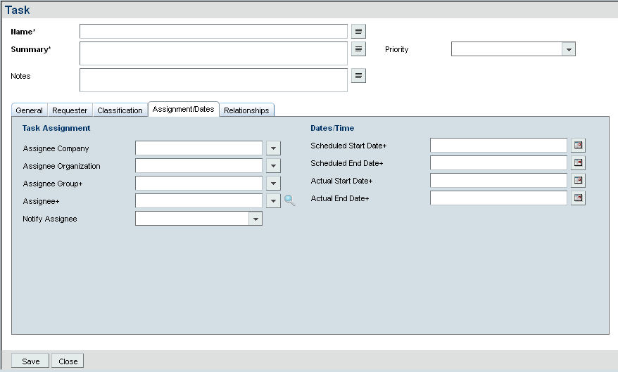 7.0 Other Tasks Remedy ITSM User Guide 12. Select the scheduled start and end dates. 13. Click on Save.