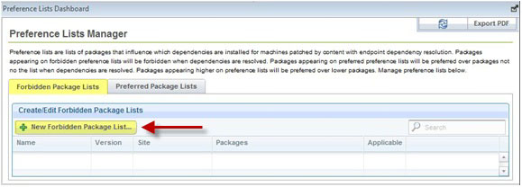 To create new Forbidden package lists, click New Forbidden Package List.