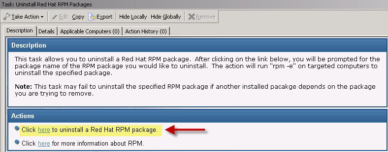 You see the Uninstall Red Hat RPM Packages patch in the List Panel on the right.