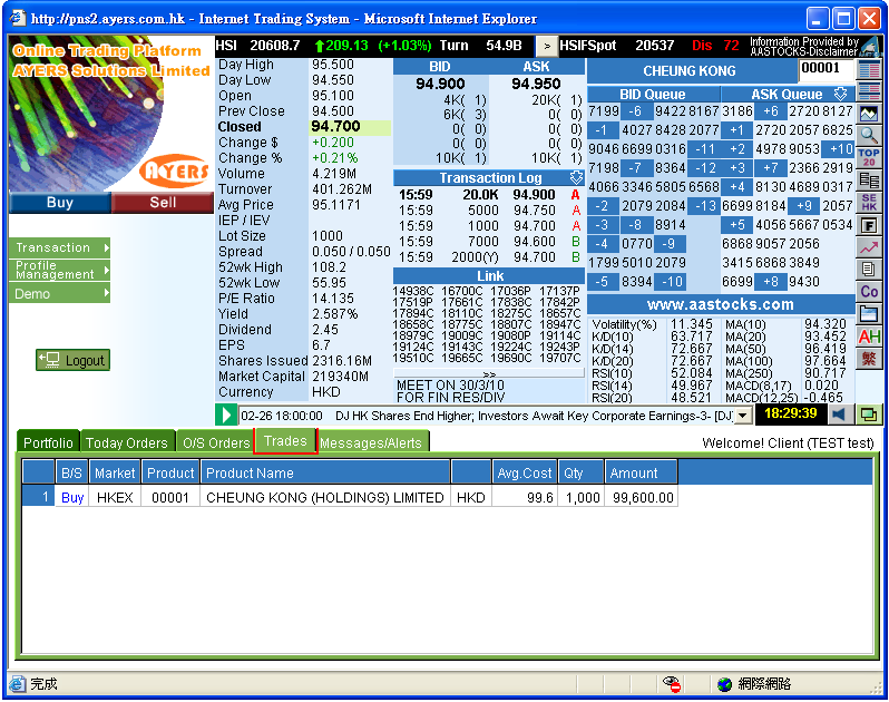 4.6 Trade Information Enquiry Select the Trades tab page in the order