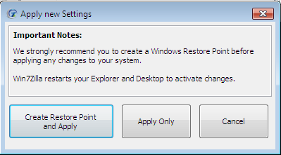 - An additional dialog will open up to confirm the action and ask the users to choose to do the action with or without creating a Restore Point.