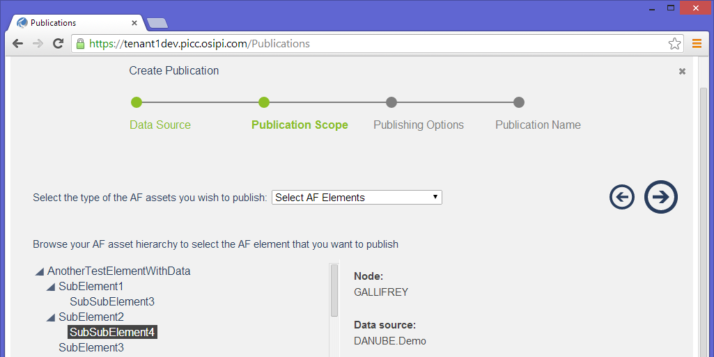 In the Publication Scope step, two options are available in the dropdown menu: Select AF Elements Select