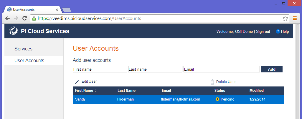 New users are added to an account by providing their First Name, Last Name and email address. Note that the email address provided does not have to be a Window Live account.