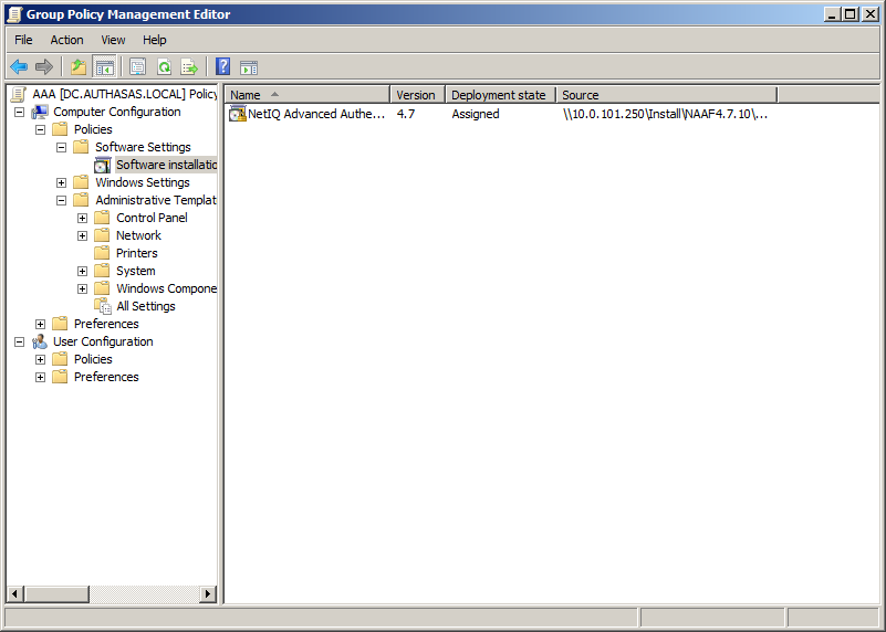 4. The installer package name, version, state and path are displayed in Group Policy Management Editor. 5.