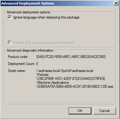 b) On the Deployment tab: click the Advanced button and set select the Ignore language when deploying this packagecheck box.