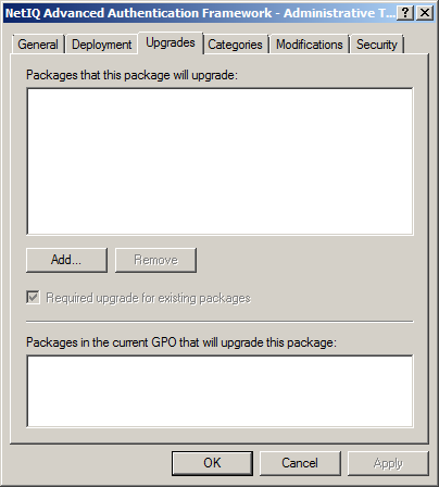 Upgrading NetIQ Advanced Authentication Framework Administrative Tools via Group Policy Option 1: You can add.msi package with new component version to an existing group policy object.