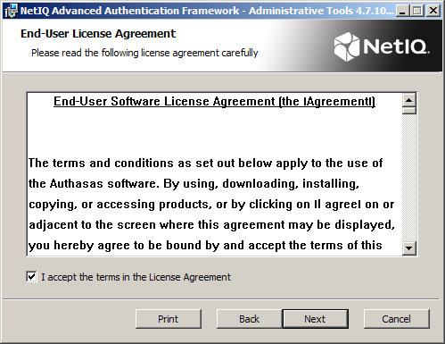3. Read the License agreement.