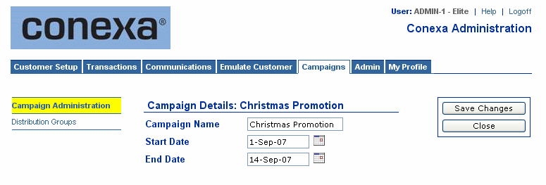Create a New Campaign To create a new campaign, first click on Campaign Administration in the menu at the left of the Campaign Summary screen, then click the New Campaign button.