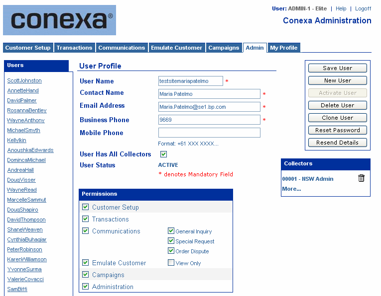 Conexa enabler System Admin Screen Purpose The Elite Admin screen is designed to allow for the creation, configuration and deletion of users of the Conexa enabler Administration module.