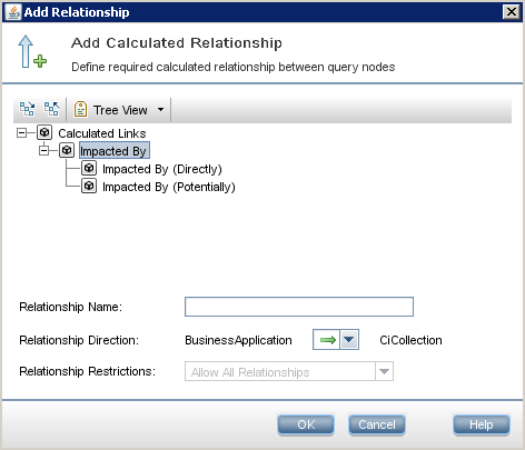 To check whether there Is an Impacted By relationship between two CIs, create a TQL, add the two elements into the Query Definition,