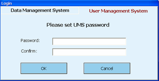 Enter the password, and click OK to login in the User Management System.