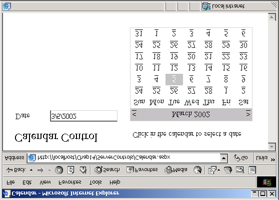 ch14.fm Page 653 Wednesday, May 22, 2002 1:38 PM Database Access in ASP.NET 653 FIGURE 14 38 Using the Calendar control to select a date. event.