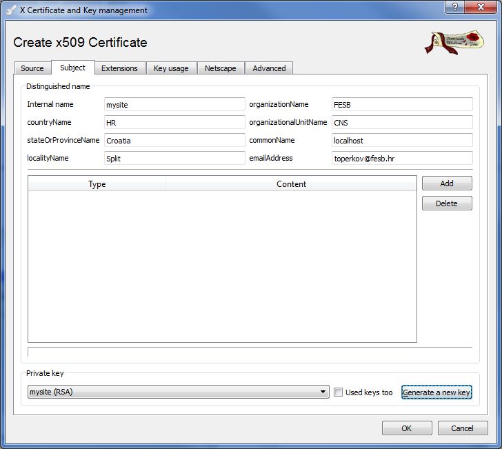 FESB Computer and Data Security Course 3 4. Select the Extensions tab and set the Type of the certificate to Certification Authority (see Figure 3).