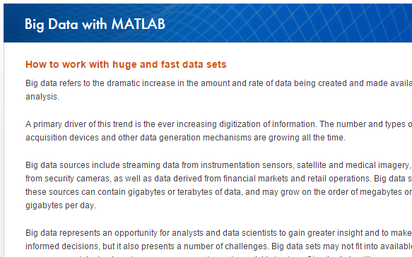 "Learn More MATLAB Documentation Strategies for Efficient Use of Memory Resolving ""Out of Memory"" Errors Big Data with MATLAB www."