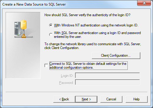 10 7. In Microsoft SQL Server DSN Configuration, the Windows NT Authentication option should be selected by default. If it is not, select it and then click Next.