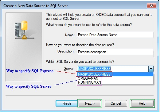 5. 6. Select the appropriate ODBC Driver for the SQL Server database, and click the Finish button. 7. The Create a New Data Source to SQL Server wizard will open.