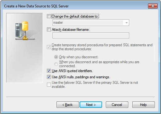 8. Select the appropriate authentication mechanism according to the Special notes for SQL Server for ODBC Scanning mentioned above.