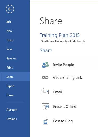 Sharing your document via OneDrive Step 1: Save to OneDrive In order to share your document via a link or URL, you first need to save your document to OneDrive before inviting people to view or edit