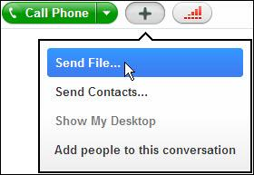 Note: Before you send a file, check if the person you wish to send the file to is online.