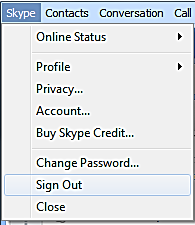 6. Sign out of your Skype account once you have finished the call. To sign out click on Skype -> Sign Out in the Menu Bar.
