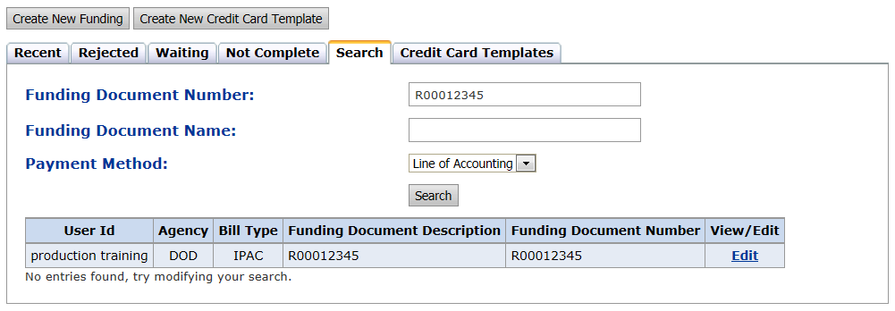 Sharing Funding Documents Clicking the Shared Template box for credit cards or line of accounting funding allows the user to share the payment method with other DSO users.
