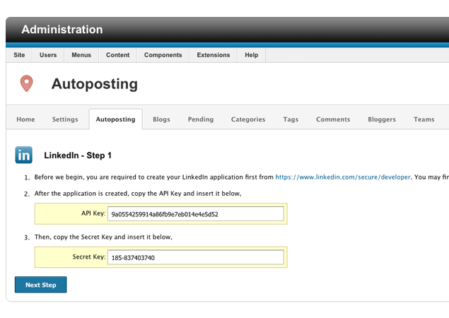 Setting up LinkedIn Application By enabling auto posting for LinkedIn, it allows blog post to be posted on LinkedIn without any manual intervention.