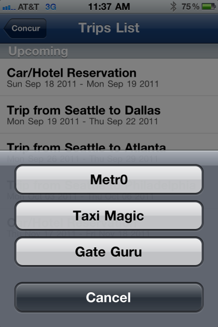 Use Taxi / MetrO / GateGuru On the Travel Apps menu on the Trips List: Use Taxi Magic to search for a taxi and reserve a taxi.
