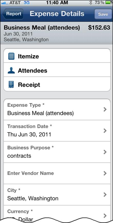 1) Open a report, select to access the menu. 2) Select Add New Expense. 3) On the expense screen, select the Company Car Use expense type. (Your company may use a different expense type name.