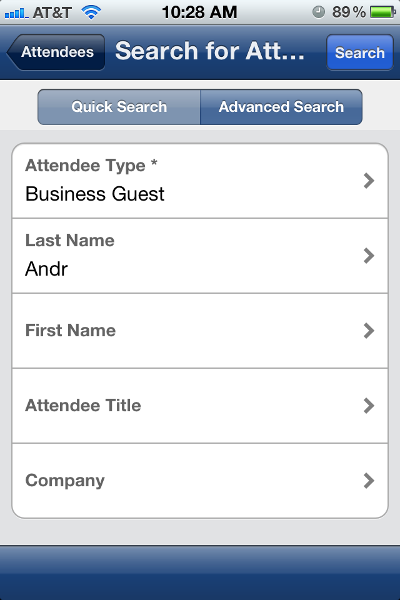 ADD ATTENDEE - SEARCH You can search for: Attendees in your Favorite Attendees list Attendee groups Attendees in your company's attendee list Attendees from an external source (like Salesforce) For