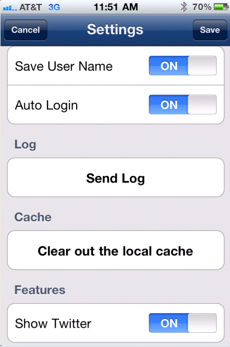 Save Login ID and Auto Login 1) Select to access Settings. 2) Select Auto Login to have Concur log in automatically when you open the app.