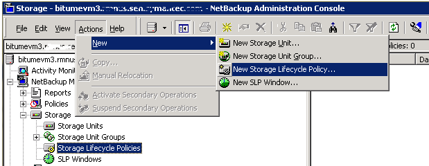 Configuring OpenStorage in NetBackup Creating a storage lifecycle policy 66 To add a storage operation to a storage lifecycle policy 1 In the NetBackup Administration Console, select NetBackup