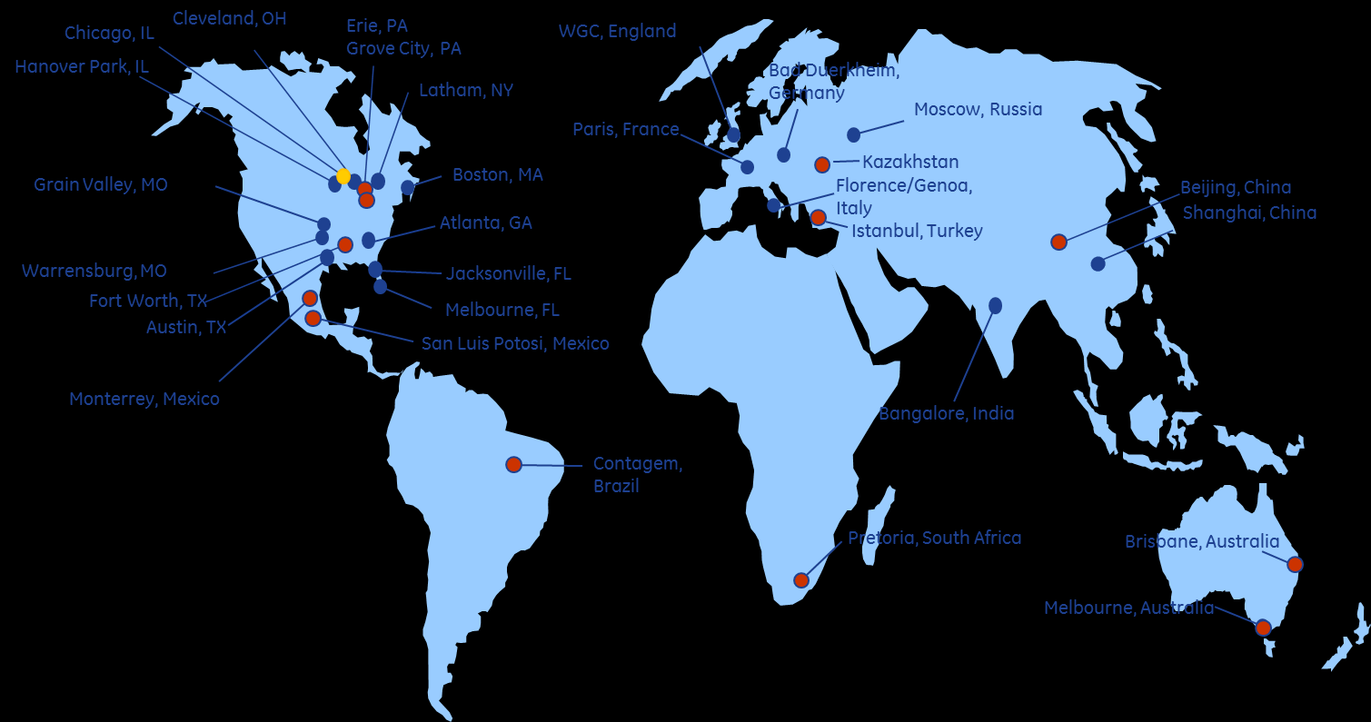 GE s Global Footprint Through operations in the Americas, Asia, Africa, Australia, and Europe